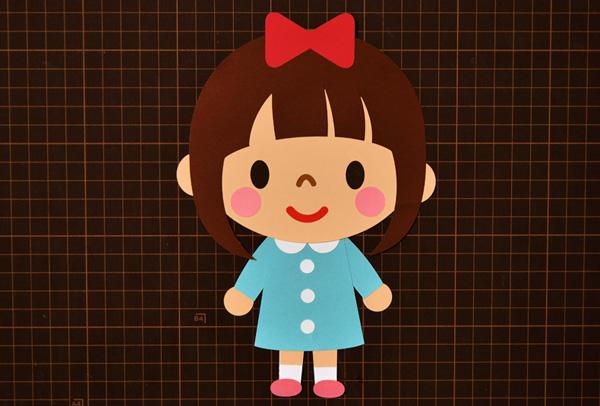 【壁面飾り】無料ダウンロード型紙で「キャラクター 女の子⑨」の壁面飾りを作ってみた! 保育園 幼稚園 介護施設 デイ