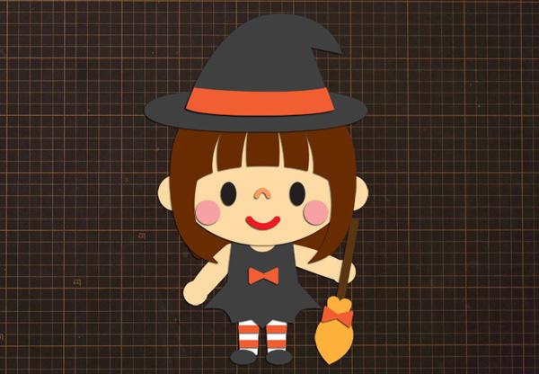 無料ダウンロード型紙で「ハロウィン 女の子④」の壁面飾りを作ってみた!秋 冬 10月 11月 魔法使い ウィッチ