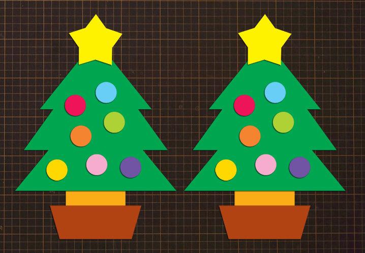 無料ダウンロード型紙で「クリスマスツリー2」の壁面飾りを作っ
